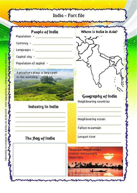 india factfile worksheet india worksheets  activities