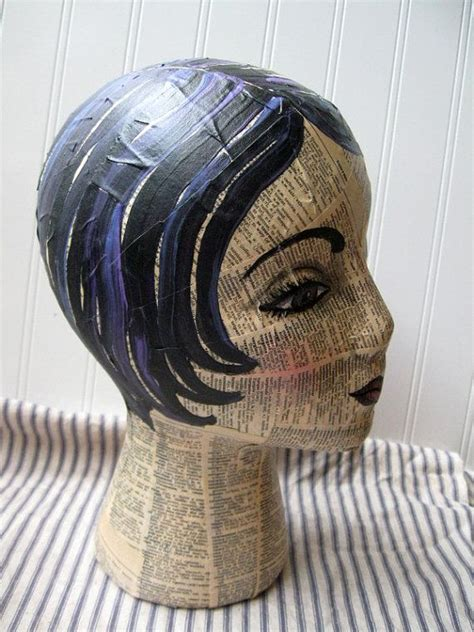 mannequin head mixed media collage