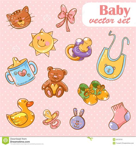 Baby Toys Cute Cartoon Set Background Stock Vector - Image ...