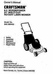 Craftsman Walk Behind Lawnmower  Gas Manual L0010003