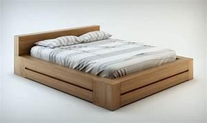 Lit Bois Massif Design : pack literie haut de gamme lit et commode en bois massif noyer clair ~ Teatrodelosmanantiales.com Idées de Décoration
