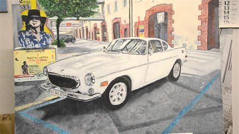 volvo car p simon templar oil  canvas italian