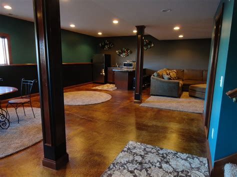 acid wash concrete basement traditional with basement