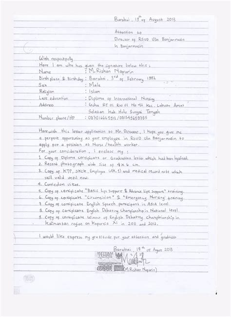 Tulisan Lop Untuk Lamaran Kerja by Contoh Surat Lamaran Kerja Tulis Tangan Yang Benar