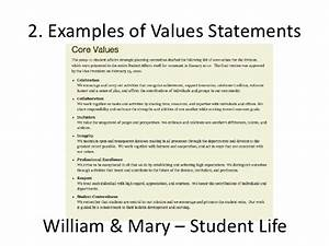 A zsr values statement for Values statement template