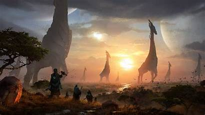 Sci Planet Fi Fantasy Creatures Surface Sunlight