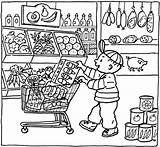 Coloring Grocery Pages Market Printable Kleurplaat Colouring Shopping Supermarket Sheets Supermarkt Thema Getcolorings Kleurplaten Getdrawings Books Shops Popular Toy Vile sketch template
