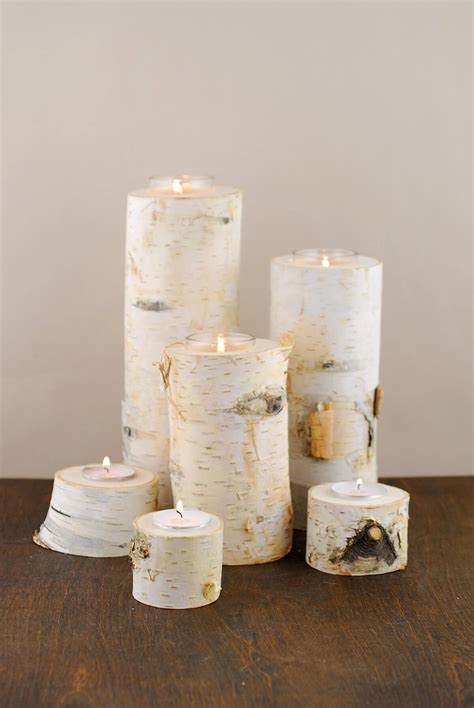 birch candle holders 8 quot birch tree branch candle holders