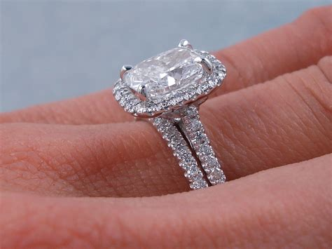 2 00 ctw cushion cut wedding ring includes a matching wedding ring