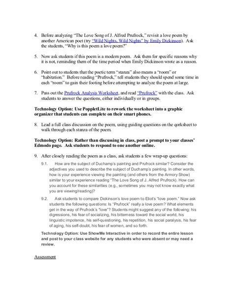 Prufrock Analysis Worksheet Resultinfos