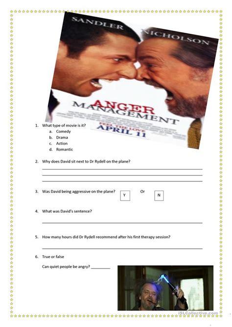 anger management  worksheet english esl worksheets