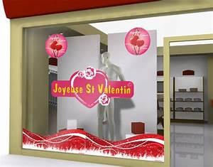 Vitrine Saint Valentin : sticker joyeuse st valentin rond pour f ter la f te des amoureux sur votre vitrine ~ Louise-bijoux.com Idées de Décoration