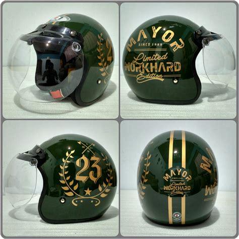 jual helm bogo jpn motif mayor hijau glossy plus kaca bogo