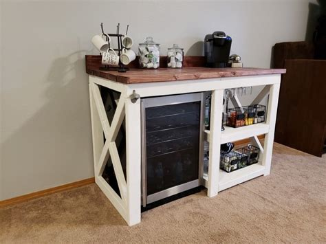 Contact nectar coffee and wine bistro on messenger. Rustic coffee bar with wine fridge.   Rustic wine cabinet, Diy home bar, Coffee bar home