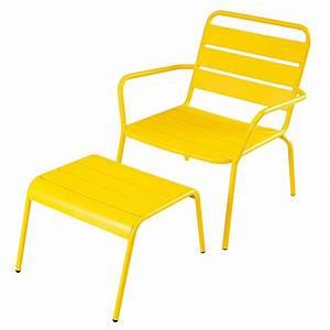 Fauteuil De Jardin Maison Du Monde : fauteuil de jardin et repose pieds en m tal jaune ~ Premium-room.com Idées de Décoration