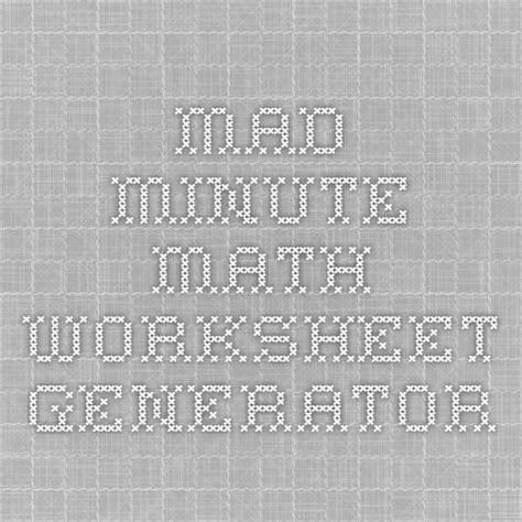 Mad Minute Math Worksheet Generator  Summer Enrichment  Pinterest  Math Worksheets, Math And