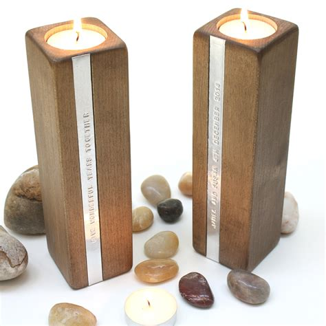 personalised wooden tea light candle holders