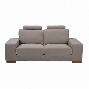 canape avec tetieres 2 places en tissu taupe daytona With canapé 2 places avec tetieres