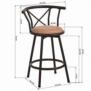 Tabouret De Bar Industriel Avec Dossier : lot de 2 tabourets de bar style industriel vintage chaises ~ Teatrodelosmanantiales.com Idées de Décoration
