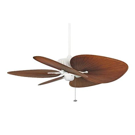 brown 22 inch oval composite palm leaf outdoor ceiling fan
