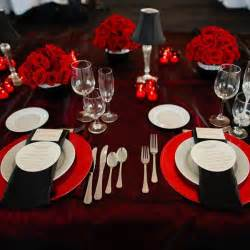 Red White and Black Wedding Table Settings