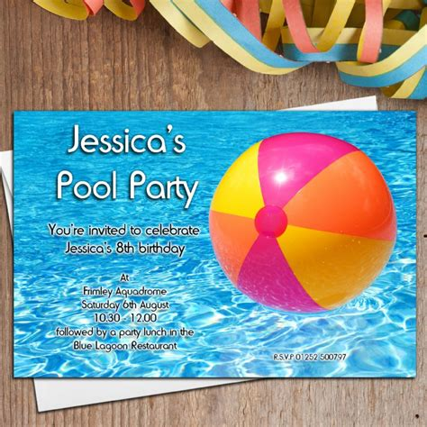 personalised swimming pool birthday party invitations