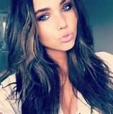 Brunette and blue eyes