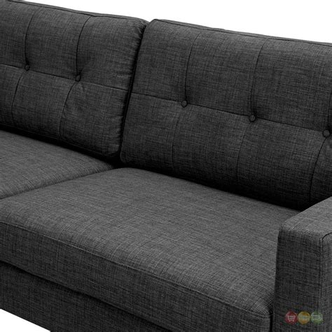 mid century couches uma modern grey fabric button tufted sofa with black