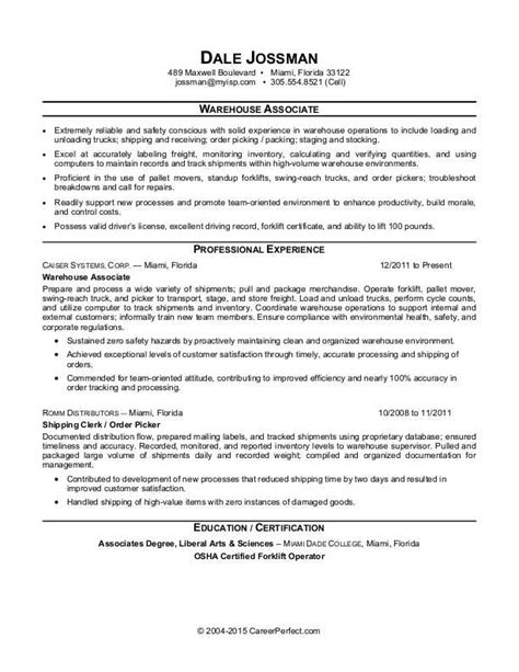 Warehouse Resume Objective by Warehouse Associate Resume Sle