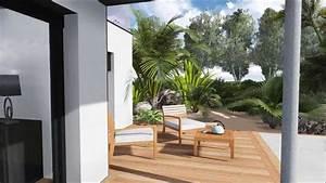 plan de jardin 3dplan de terrasse et piscine de luxe With deco de jardin moderne