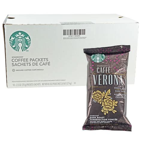 The starbucks caffe verona coffee has a rich and balanced flavor. Starbucks Caffe Verona Dark Roast Ground Coffee 2.5 oz 18 count - The Coffee Shopping Network