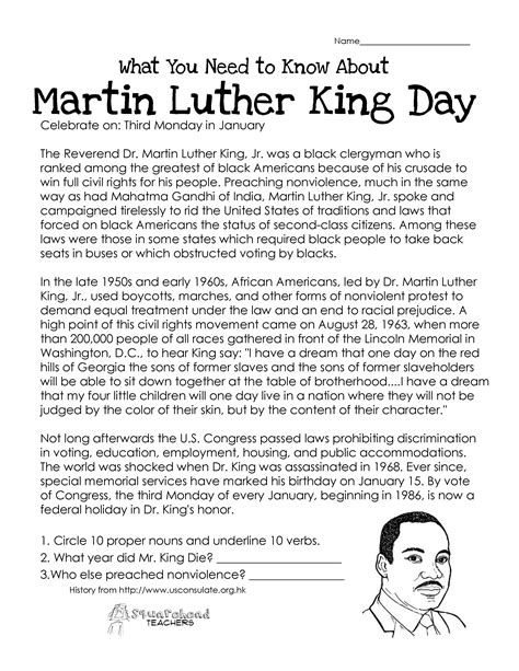 this free worksheet about martin luther king day covers