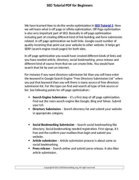 Seo Tutorial - free seo tutorial pdf