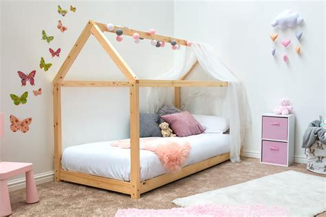 Kid Bed by Treehouse House Style Pine Wooden Bed Frame