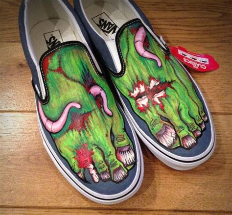 Custom Zombie Feet Canvas Shoes Van Toms Style