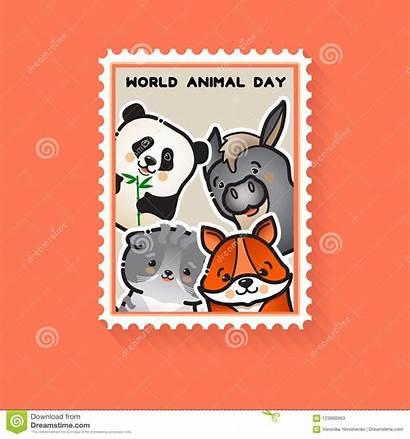 Animal Animals Vector Postcard Illustration Stamp