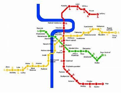 Metro Mapa Praga Praha Metropolitana Linea Metra
