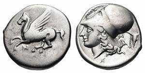 Athena and Pegasus. Ancient Greek coin. | Ancient coins ...