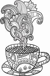Coloring Coffee Cup Tea Colouring Printable Adult Drawing Rainy Imagem Zentangle Sheet Relacionada Doodle Vector Sheets Illustration Drawn Abstract sketch template