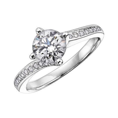 18ct white gold solitaire twist ring francis