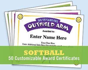 softball certificates award templates  coaching forms