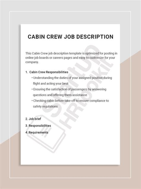 description of cabin crew description startuphr toolkit