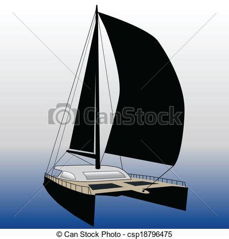 Catamaran Drawing by Vectors Illustration Of Sailing Catamaran Csp18796475