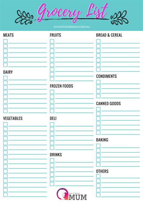 Customisable Grocery Shopping List Free Printable
