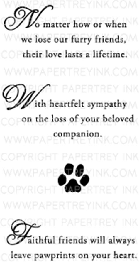 words of comfort for loss of pet with sympathy loss of a pet mini st set papertrey ink