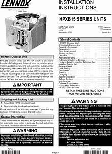 Lennox Air Conditioner  Heat Pump Outside Unit  Manual L0806498