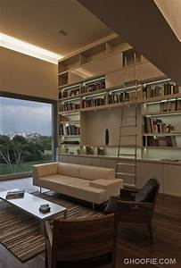 Charming, Home, Library, Design, Ideas, With, Minimalist, Ladder