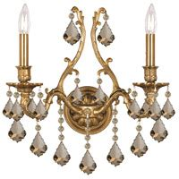 crystorama 5142 ag gt mwp yorkshire 2 light inch aged brass wall sconce wall light
