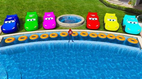 Mcqueen Cars Jumps Into The Water W/ Superheroes Jumping