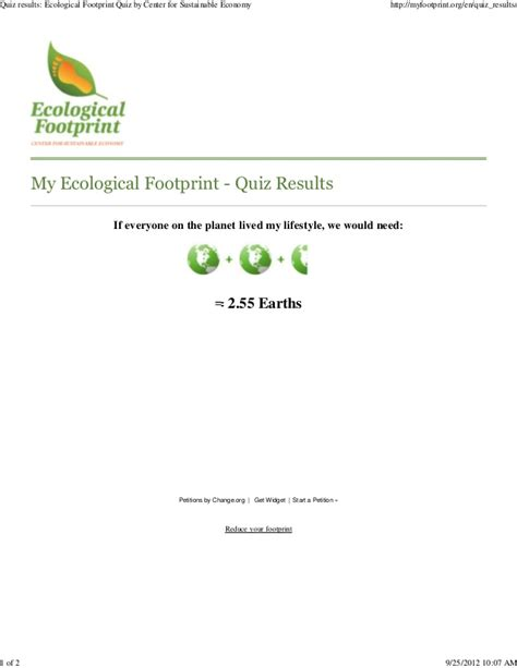 p57600 quiz results ecological footprint quiz by center